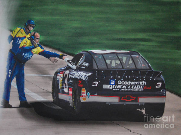 Chevrolet Drawing - Dale Earnhardt Wins Daytona 500-pit Road Hand Shake by Paul Kuras