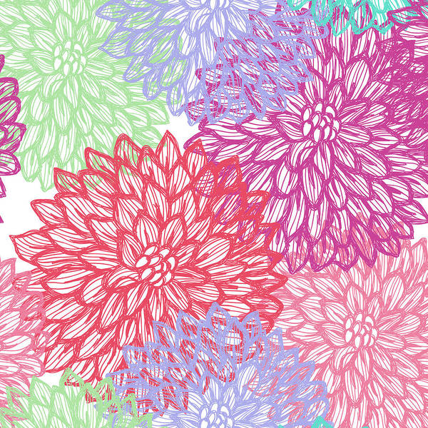 Pink And White Digital Art - Dalhia Seamless Vector Pattern - Ink by Andrea hill
