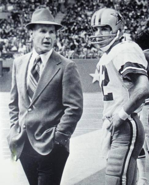 Dallas Cowboys Coach Tom Landry And Quarterback #12 Roger Staubach Art Print