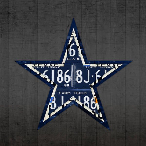 University Mixed Media - Dallas Cowboys Football Team Retro Logo Texas License Plate Art by Design Turnpike