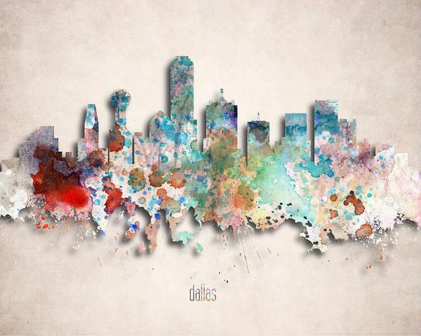 Wall Art - Digital Art - Dallas Painted City Skyline by World Art Prints And Designs