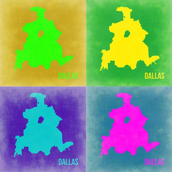 Wall Art - Painting - Dallas Pop Art Map 2 by Naxart Studio
