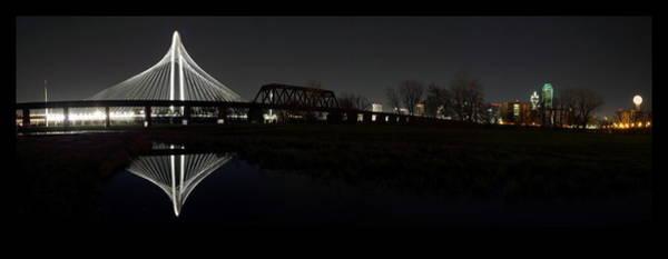 Dallas Skyline Hunt Bridge Color Art Print