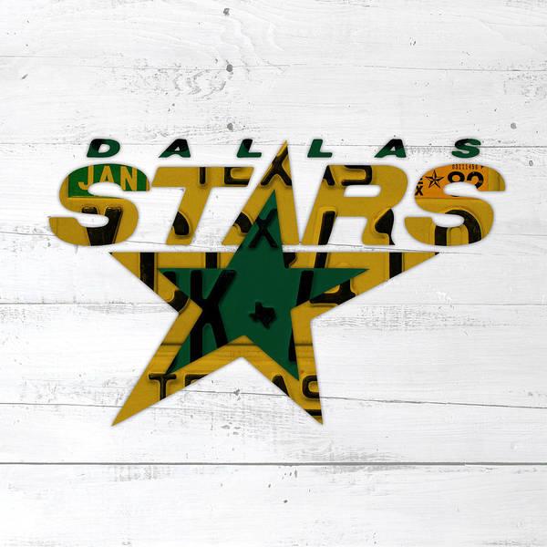 Wall Art - Mixed Media - Dallas Stars Hockey Team Retro Logo Vintage Recycled Texas License Plate Art by Design Turnpike