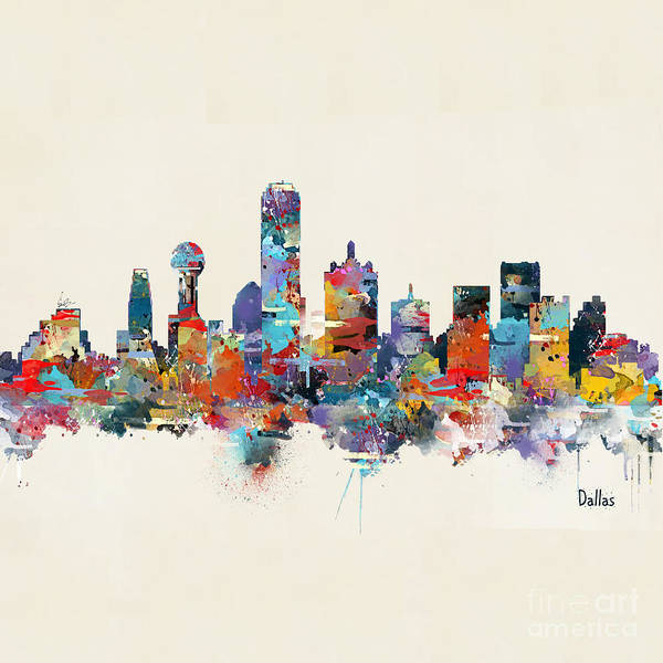 Office Decor Painting - Dallas Texas Skyline Square by Bri Buckley