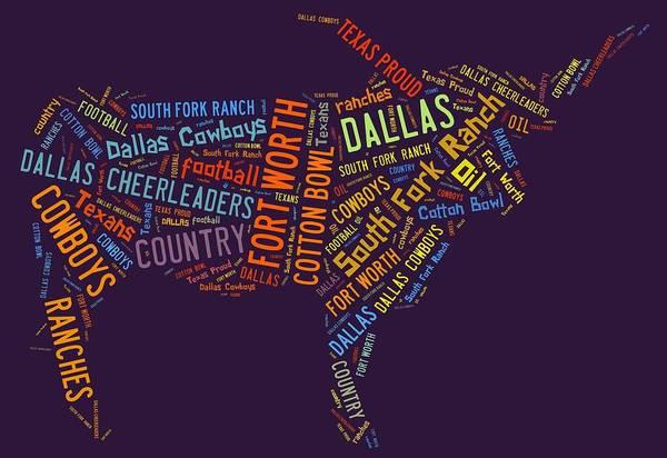 Cheerleaders Digital Art - Dallas Text Art by Linda Brown