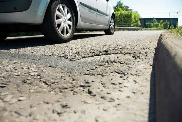 Potholes Wall Art - Photograph - Damaged Road Surface by Trl Ltd./science Photo Library