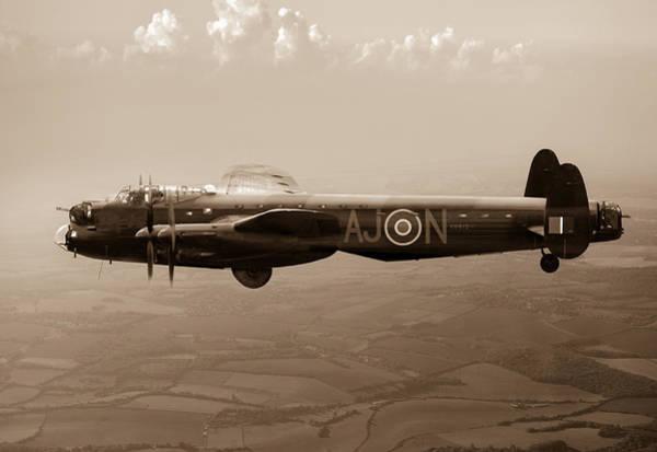 Photograph - Dambusters Lancaster Aj-n Sepia Version by Gary Eason