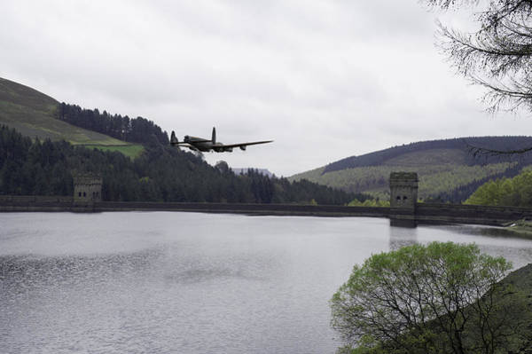 Photograph - Dambusters Lancaster At The Derwent Dam by Gary Eason