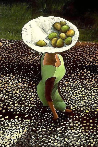 Painting - Dame En Vert by Laurend Doumba
