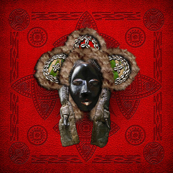Tribal Digital Art - Dan Dean-gle Mask Of The Ivory Coast And Liberia On Red Leather by Serge Averbukh