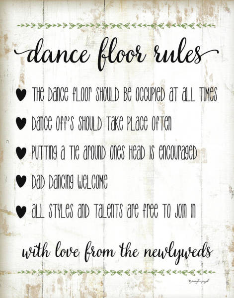 Country Wedding Painting - Dance Floor Rules by Jennifer Pugh