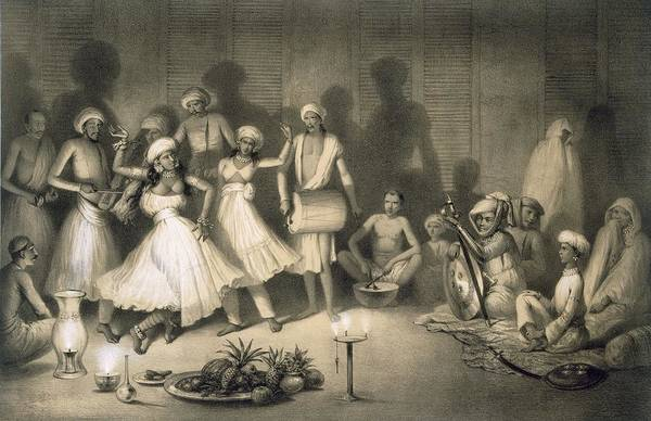 Traditional Dances Drawing - Dance Of Nautch Girls by A Soltykoff