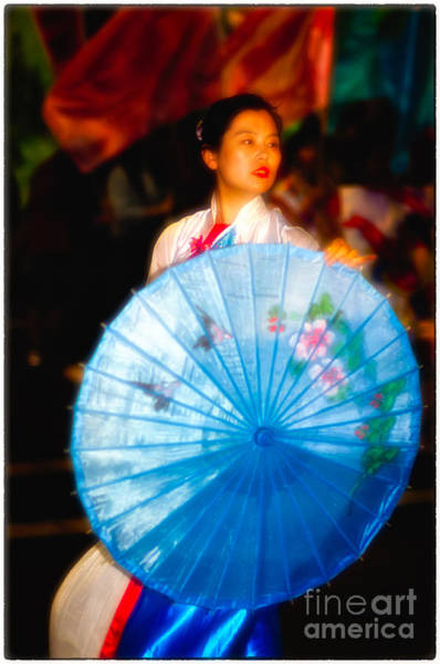 Photograph - Dance Of The Blue Umbrella - Chinese New Year Dancing In The Street by David Hill