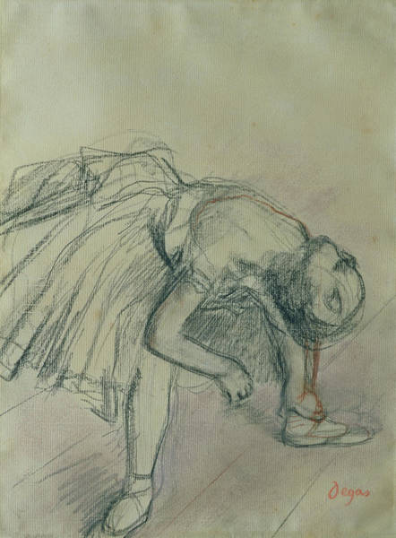 Impressionistic Drawing - Dancer Fixing Her Slipper by Edgar Degas