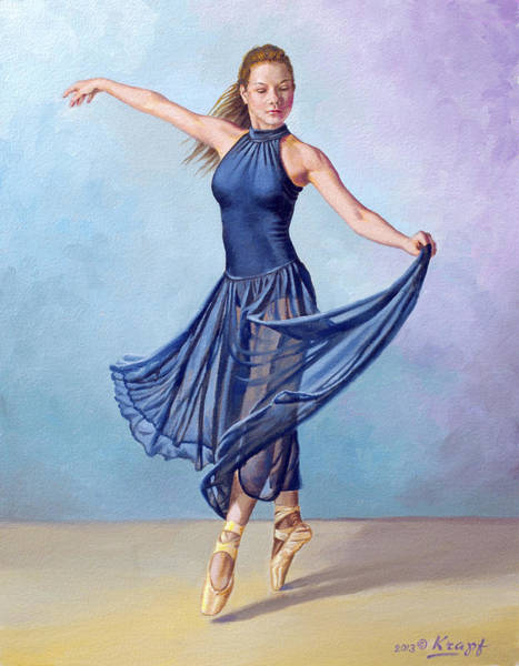 Blue Dress Painting - Dancer In Dark Blue by Paul Krapf