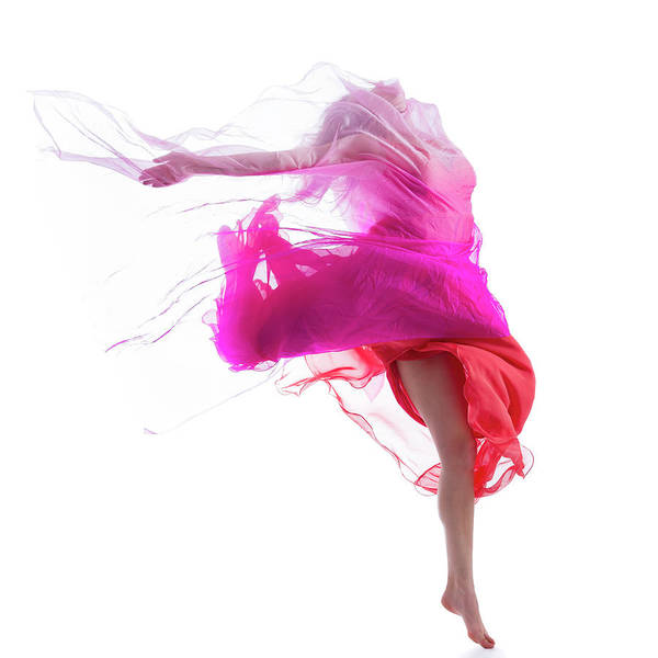Red Dress Photograph - Dancer Jump On White Background With by Proxyminder