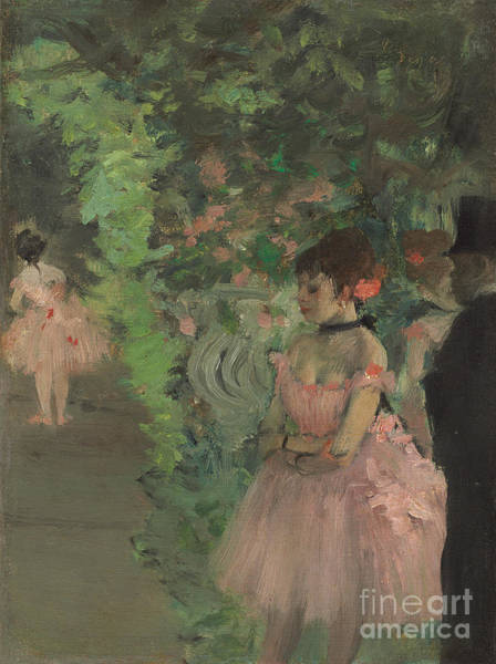Theatrical Painting - Dancers Backstage by Edgar Degas