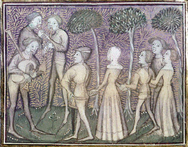 Bagpipe Wall Art - Painting - Dancers, C1380 by Granger