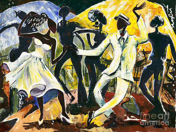 African Dance Painting - Dancers No. 1 - Saturday Nights Out by Elisabeta Hermann