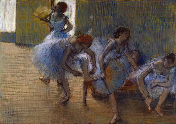 Wall Art - Pastel - Dancers On A Bench, 1898 by Edgar Degas