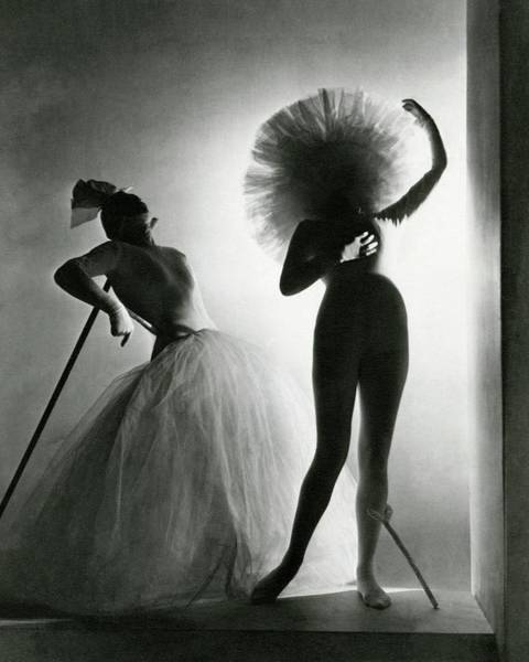 Photograph - Dancers Posing In Costumes From Salvador Dali's by Horst P. Horst