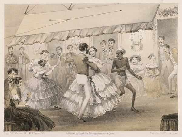 Wall Art - Drawing - Dancing At An English Station Ball by Mary Evans Picture Library