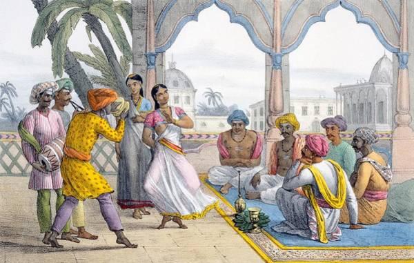 Traditional Dances Drawing - Dancing Bayaderes, 1827-35 by M.E. Burnouf