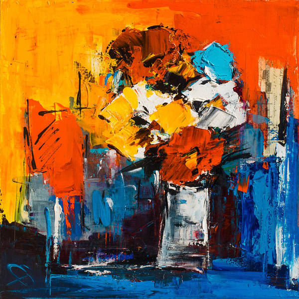 Christmas Flowers Painting - Dancing Colors by Elise Palmigiani