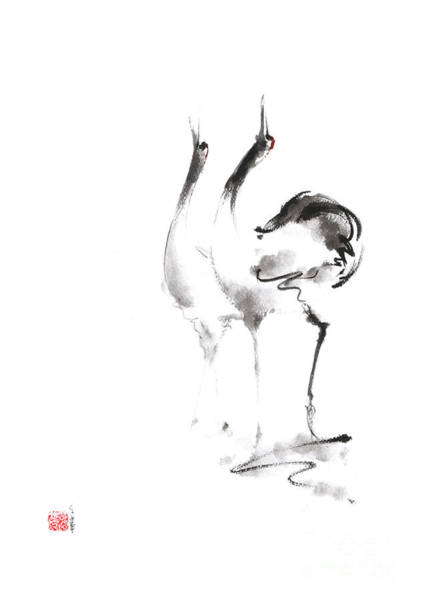 Sumi Wall Art - Painting - Dancing Cranes Japanese Artwork by Mariusz Szmerdt
