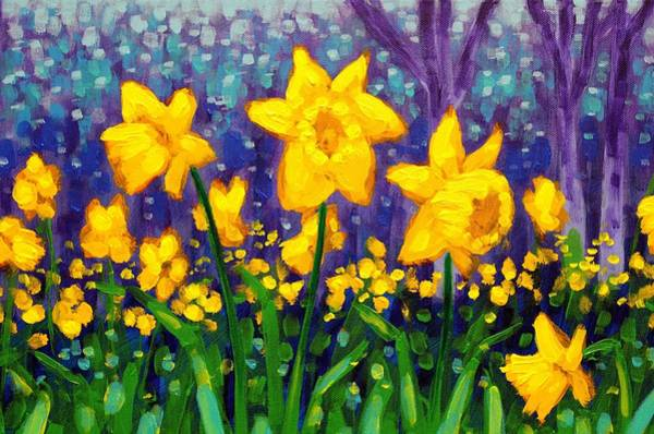 Wall Art - Painting - Dancing Daffodils    Cropped by John  Nolan