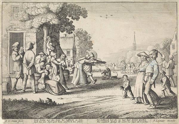 Pleasure Drawing - Dancing Farmers During A Village Festival by Jan Van De Velde Ii And P. Leijenaar