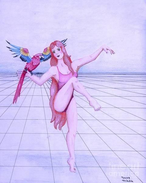 Blue Parrot Drawing - Dancing Girl by Teresa Trimble