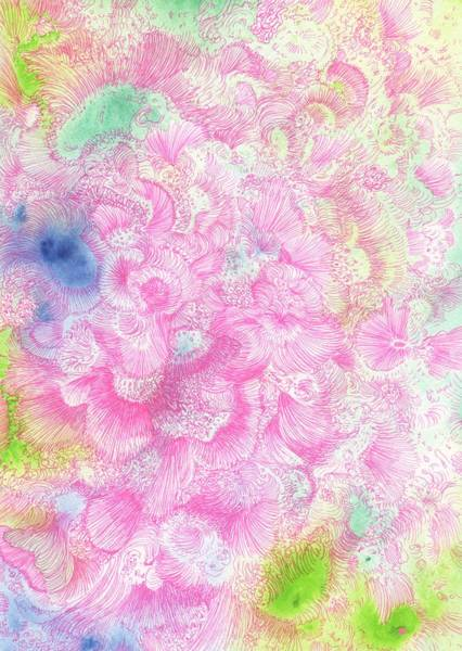 Organic Garden Drawing - Dancing In The Clouds - #ss14dw063 by Satomi Sugimoto