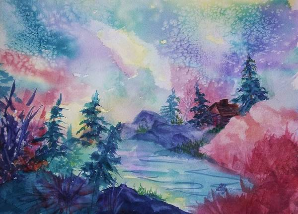 Cabin In The Woods Wall Art - Painting - Dancing Lights II by Ellen Levinson