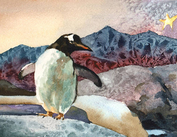 Penguin Painting - Dancing Penguin by Anne Gifford