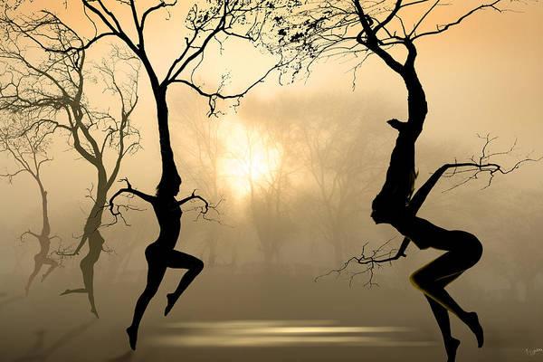 Druid Wall Art - Digital Art - Dancing Trees by Igor Zenin