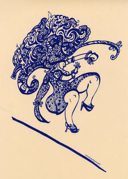 High Heels Drawing - Dancing Woman With Big Hair by Vince MacDermot