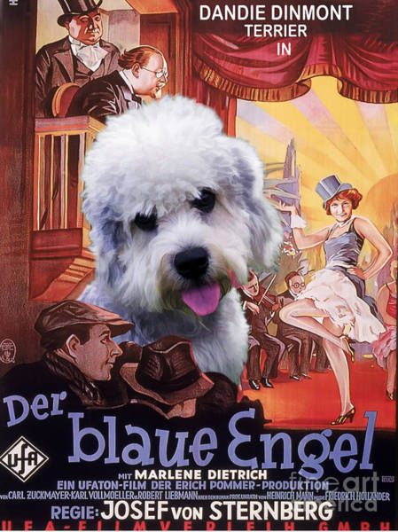 Engels Painting - Dandie Dinmont Terrier Art Canvas Print - Der Blaue Engel Movie Poster by Sandra Sij
