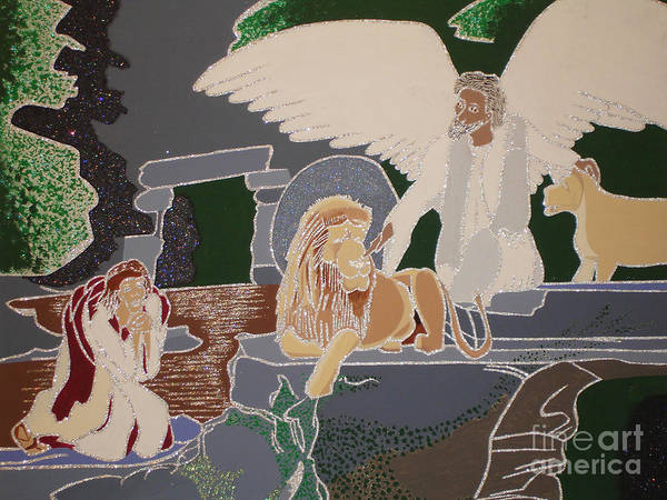 Wall Art - Painting - Daniel And The Lions Den by Daniel Henning