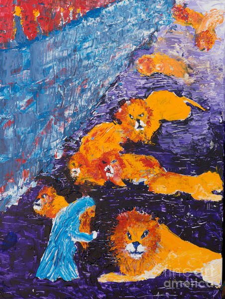 Painting - Daniel And The Lions by Walt Brodis