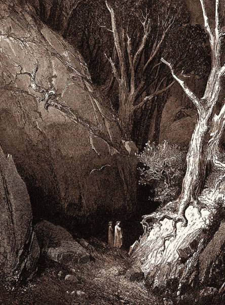 Dor Drawing - Dante And His Guide, By Gustave DorÉ. Dore by Litz Collection