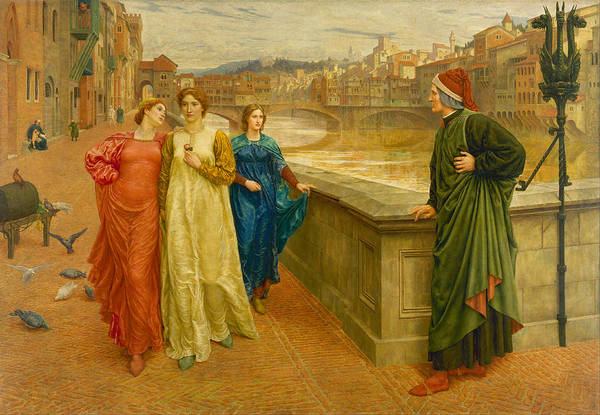 Painting - Dante Meeting Beatrice by Henry Holiday