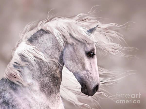 Digital Art - Dappled Grey Horse Head Profile by Elle Arden Walby