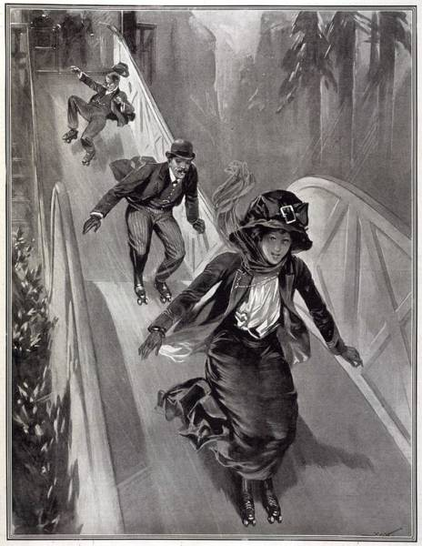 Risk Drawing - Daring Roller Skaters Risking  Life by  Illustrated London News Ltd/Mar
