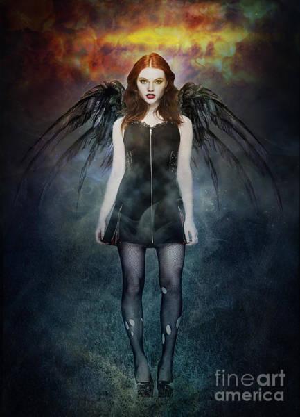Angelic Digital Art - Dark Angel by Michael Volpicelli