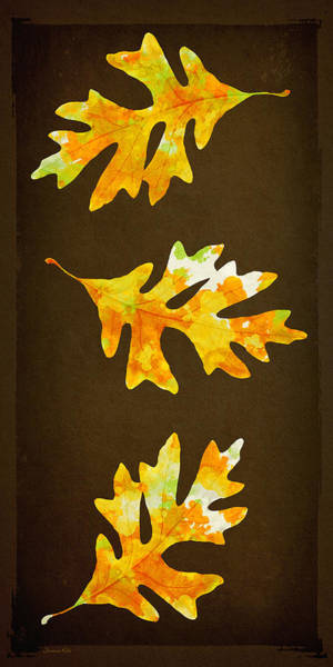 Mixed Media - Autumn Oak Leaf Painting by Christina Rollo
