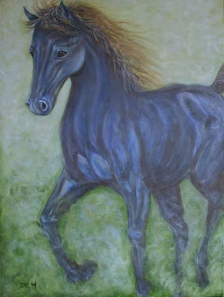 Wall Art - Painting - Dark Blue Horse by Jennifer Kwon
