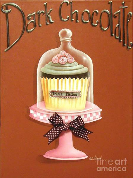 Icing Painting - Dark Chocolate Cupcake by Catherine Holman