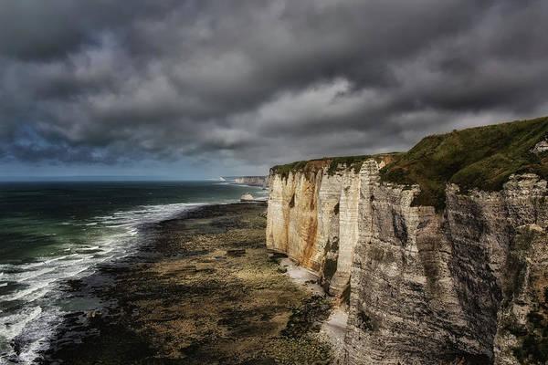 Alabaster Photograph - Dark Clouds Over The Cliff Line by Bettina Lichtenberg